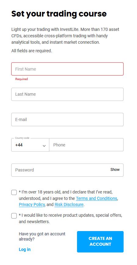 InvestLite Registration Form