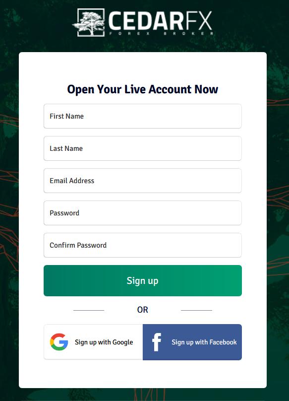 CedarFX Signup Form